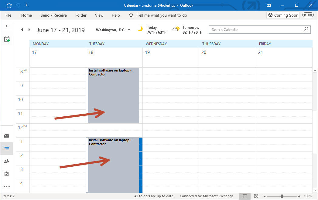 Appointment moved to another date in Outlook